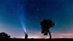 Send your Dreams. (michaelbohnen.com) Tags: stars star stern sterne night nightshot plejaden blankenheim germany nacht nachtaufnahme light pollution lichtverschmutzung horizon horizont nebel dunst clouds wolke flashlight taschenlampe 6d sigma 35mm 14 mibofotografie michaelbohnenfotografie tree baum silhouette