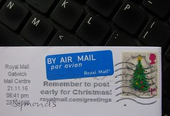 The First One of 2016 (streamer020nl) Tags: royalmail christmas 2016 gatwick post paravion byairmail stamp christmastree briefmarken timbres postzegel weihnachten noel kerstboom weihnachtsbaum