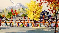 Le matin au village folklorique(Tempera) - kim su Nam (nokoredstar) Tags: aquarelle peinture coréedunord pyongyang paysage broderie