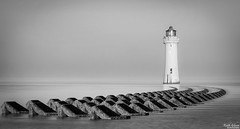 Perch Rock Lighthouse (wiganworryer) Tags: keith gibson wiganworryer canon 6d full frame 2016 photo photography image picture 24 105 l series f4 zoom lens 2 mk ii 70 200 28 is perch rock lighthouse fort beach sea wallassey wirral north west uk england water black white bw mono high tide blackandwhite monochrome tower architecture outdoor calm fog foggy morning breakers defence concrete