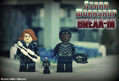 Stark Workshop Break-In (WattyBricks) Tags: lego marvel comics superheroes minifigures black panther antman scott lang natasha romanov widow tchalla wakanda team captain civil war