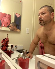 IMG_1286 (danimaniacs) Tags: shirtless man guy mansolo chest hair hairy bathroom mirror reflection beard scruff selfportrait red torso