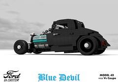 Ford 1933 Custom V8 Coupe - Blue Devil (lego911) Tags: ford 1933 1930s classic model 40 oldsmobile v8 coupe blue devil custom kustom usa america auto car moc miniland lego 911 ldd render cad povray lugnuts challenge 109 deuceswild deuces wild lego911