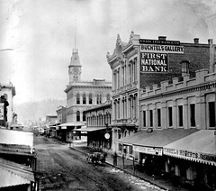 First street, 1873 (jackonflickr) Tags: street blackandwhite horse tower clock fashion oregon portland washington gallery 1st union first bank dry goods historic steeple national roberts cart insurance notmyphoto millinery 1873 fishel buchtels