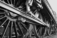 Black & white close-up of 60 009's wheels. (Raymondo166) Tags: africa white mountain black closeup photo south main union wheels express carlisle 60 009 cme cumbrian upperby