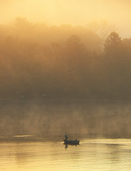 Got One (photohuszar) Tags: lake fog sunrise fishing fisherman foggy wallart lone photodecor photohuszar