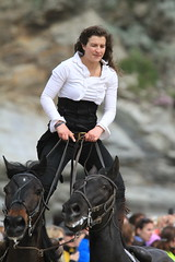 Standing Up.  On Two Horses. (Adrian Midgley) Tags: family horse movie bay team daniel devils horsemen cossack riding devil trick camilla gerard stunts thedevilshorsemen naprous watergat