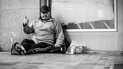 Live positive anyway (Giulio Magnifico) Tags: portrait station happy blackwhite wine homeless citylife streetphotography sit udine nikond800 nikkormicro105mmafsvrf28