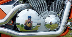 Hog Frog Reflection (FrogBum) Tags: reflection chrome harleydavidson motorcycle hog hogs macombcounty brainbucket sterlingheightsmichigan