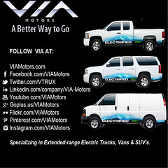 VIA Motors - Specializing in exteneded-range electric trucks, electric vans & electric SUV's (viamotors) Tags: electric motors via vans trucks suvs range facebook extendedrange exteneded pinterest instagram vtrux viamotors viamotorscom
