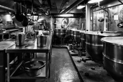 USS Intrepid Galley (Eric Kilby) Tags: bw kitchen museum blackwhite pots intrepid uss galley