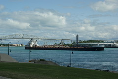 Freighter with Port Huron bridge to Canada in the background. (Dave L2013) Tags: sony a350 minolta35105