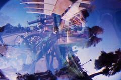Tempe, Arizona (shelby.bernstein) Tags: trees arizona distortion color film america buildings crazy colorful bikes fisheye asu trippy tempe tripleexposure dorms realitydistortion