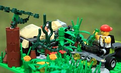 If you mow your lawn and find a car... (gravescout) Tags: grass car fun toy weeds lego lawn mower redneck minifigure foxworthy