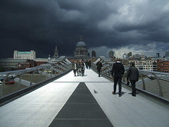 Dark clouds over St Paul's Cathedral, London. (Bennydorm) Tags: city uk greatbritain bridge england london weather clouds river dark cathedral stpaul milleniumbridge stpaulscathedral riverthames darkclouds