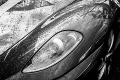 Rainy Eyes (NiePhotography) Tags: sky bw white black cars water coffee monochrome car rain museum beads drops cloudy may overcast ferrari racing exotic scuderia supercar 430 2015 penske