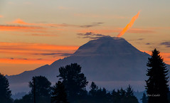 Rainier Breathing Fire (telazac) Tags: pacificnorthwest tamron landscape 7d burnt canon orange clouds trees blue fife sky outside sunrise washingtonstate washington mountrainier outdoors morning mount fire rainier mountain unitedstates us