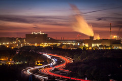 Duisburg and the curve.... (50D-Ray) Tags: landschaftsparkduisburgnord duisburg steelfactory germany sunset sky smoke clouds