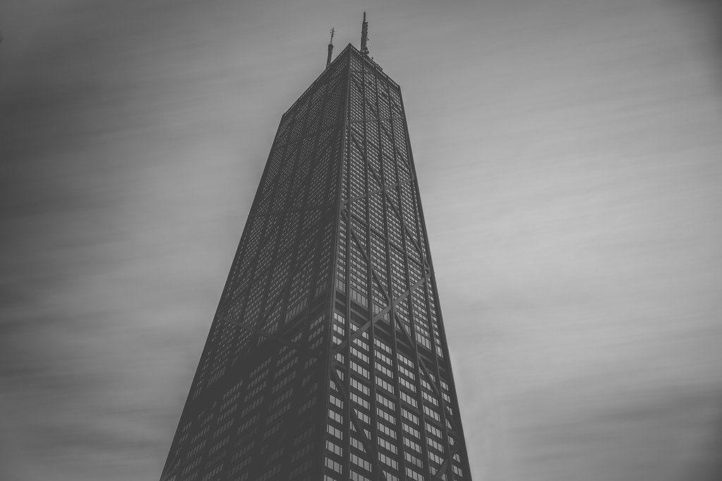 A long exposure of the John Hancock Center from my work building's terrace.