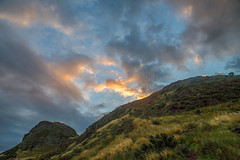 Light behind Mountain (danliecheng) Tags: authursseat edinburgh holyroodpark scotland attractions autumn clouds cold colors dawn fence grass hiking hill hillside landscape meadow morning mountain outdoor path road season sky sunrise trail travel twilight visit warm