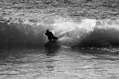 In It..To Win It!! (Wildlife_Biologist) Tags: surfing ocean water waves sea beach jeffahrens wildlifebiologist human homosapiens person skimboarder skimboarding blackandwhite blackwhite bw monochrome humanbeing southerncalifornia