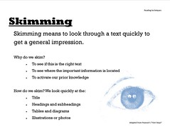 Educational Resource: Skimming defined and explained (Ken Whytock) Tags: skimming read reading text impression importantinformation located knowledge title headings subheadings tables diagrams illustrations photos