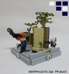 Mission 9.2: Liberators of Ryloth (JAlexanderHutchins) Tags: lego star wars 253rd clone jabiim ryloth blaster droid build vig smoke fire tree wall stone sargent cod republic mission 92 sepretist