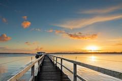 Der Steg am Morgen (bhansen.kiel) Tags: gelb sonnenaufgang sunrise steg haus balticsea water kiel kielerfrde sun sonne wood holz reflection cloud wolken canon sky