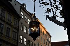2016-10-16: Dusk Lights (psyxjaw) Tags: germany munich munchen trip october holiday gaslight lamp shop outside sunset dusk