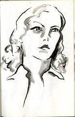 A Portait of a Woman (Cambridge Room at the Cambridge Public Library) Tags: portrait penandinkdrawing watercolor watercolorspaintings arnolddorothy dorothyarnold cambridgemass cambridge cambridgemassachusetts artistjournals