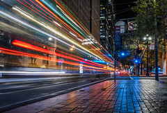 drumm beat (pbo31) Tags: sanfrancisco california night december 2016 dark fall boury pbo31 city nikon d810 color financialdistrict cbd red lightstream motion roadway traffic marketstreet bus muni stop drumm infinity reflection light