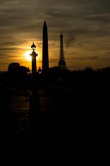 3 Pics (GLVF) Tags: lampadaire oblisquedelouxor toureiffel silhouette paris france sun eiffel tower obelisk louxor