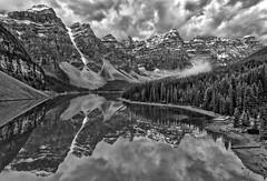 Mono Moraine (Philip Kuntz) Tags: lakemoraine moraine morainelake valleyofthetenpeaks blackandwhite bw monochrome reflections clouds banff alberta canada