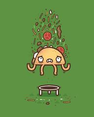 Taco trampoline trauma (randyotter) Tags: art design illustration cool fun drawing digital randyotter clever puns cute colour
