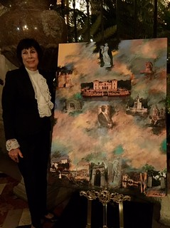 Erika King showing the commemorative collage she made for Vizcaya's 100 Celebration.