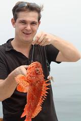 Catching rascasse (Dlirante bestiole [la posie des goupils]) Tags: togo golfedeguine westafrica fishing ocean fish redfish rascasse