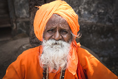 Orange is the new Black (eyecandyclick) Tags: old wise orange beads necklace whitebeard justoneclick portrait beardedman indian hindu holyman outside border crop digital 5d