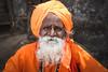 Orange is the new Black (eyecandyclick) Tags: old wise orange beads necklace whitebeard justoneclick portrait beardedman indian hindu holyman outside border crop digital 5d