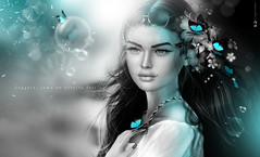 Leer, coe  o d'l  M &  (AyE  I'  voT) Tags: digitalart digitalpainting digitalfantasy painting artworks portraits beauty illustrations artportrait ritratto retrato portrature dreamy vision magical emotionalart emotional blackwhite bw biancoenero bwwithatouchofcolour butterfly butterflies blackcyan  mimariposa