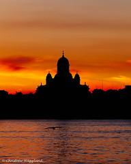 Helsinki by Night (ToffeHgglund) Tags: helsingfors helsinki sunset sky outdoor sea serene dusk bird skyline church ferry finland summer summernight city stad kaupunki kvllsljus canon5dmkii