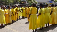 Yellow clad ladies dancing (prondis_in_kenya) Tags: kenya nairobi shortrains holyfamily basilica church cathedral catholic uniform uniformedservices thanksgiving dance yellow dress video