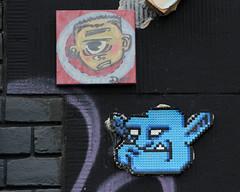 streetart (wojofoto) Tags: streetart amsterdam canvas reus spuistraat tegel dus strijkkralen wojofoto