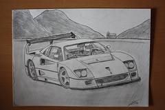 Ferrari F40 Competizione (Edwin Peek) Tags: canon photography eos one nice kunst automotive ferrari want have peek mooi crayon those edwin hoor beautifull f40 tekening nee drawning competizione 450d overtrekken