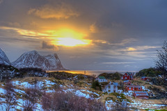Happy Easter (Daniel J. Mueller) Tags: sunset snow mountains norway clouds island bush village fjord hdr senja 7xp d3s