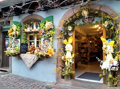 Easter decorations in Riquewihr (radiowood) Tags: france shop easter spring medieval alsace riquewihr