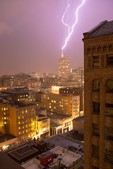 Lightning in San Francisco (Summit42) Tags: sanfrancisco california city longexposure window night dark hotel downtown canon5d lightning transamerica unionsquare 24105 jwmarriot dontsteal 15thfloor transamericabulding billchurch