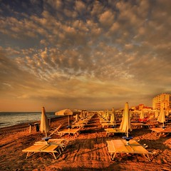 golden beach  -  Explore (rinogas) Tags: italy cloud beach sunrise golden hdr veneto friuliveneziagiulia lignanosabbiadoro vertorama rinogas