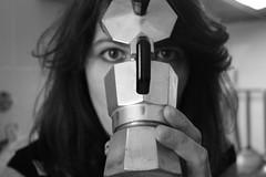 geometrie alternative (Maieutica) Tags: bw woman girl face eyes hand bn occhi mano viso ragazza caffettiera faccia volto