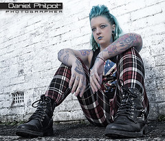 P1019070-2 (Daniel Philpot) Tags: blue sexy wall punk grunge kelly mayhem tartan