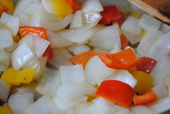 Onions & Pepper Browning (DRodino) Tags: red food white cooking kitchen yellow digital pepper nikon sauce onions onion saute tomatosauce sautee pastasauce d3000